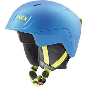 UVEX Manic Pro Helmet Kids blue-lime met mat